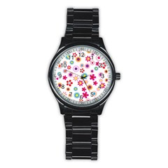 Floral Flowers Background Pattern Stainless Steel Round Watch