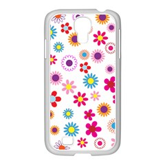 Floral Flowers Background Pattern Samsung Galaxy S4 I9500/ I9505 Case (white)