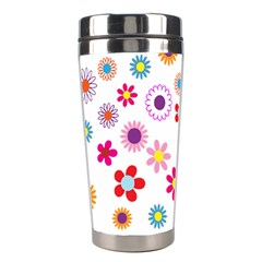 Floral Flowers Background Pattern Stainless Steel Travel Tumblers