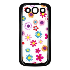 Floral Flowers Background Pattern Samsung Galaxy S3 Back Case (Black)