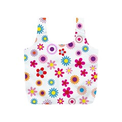 Floral Flowers Background Pattern Full Print Recycle Bags (S)