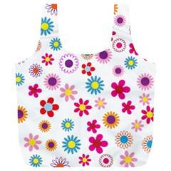 Floral Flowers Background Pattern Full Print Recycle Bags (L)