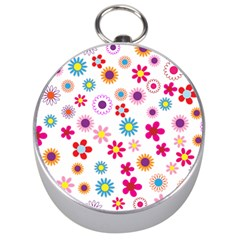 Floral Flowers Background Pattern Silver Compasses