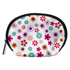 Floral Flowers Background Pattern Accessory Pouches (medium)