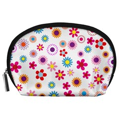 Floral Flowers Background Pattern Accessory Pouches (large)