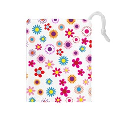 Floral Flowers Background Pattern Drawstring Pouches (Large)