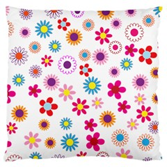 Floral Flowers Background Pattern Large Flano Cushion Case (two Sides)
