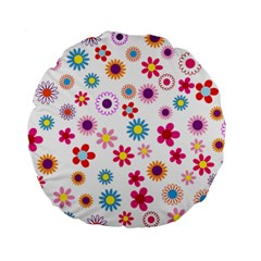 Floral Flowers Background Pattern Standard 15  Premium Flano Round Cushions