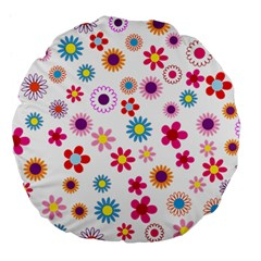 Floral Flowers Background Pattern Large 18  Premium Flano Round Cushions