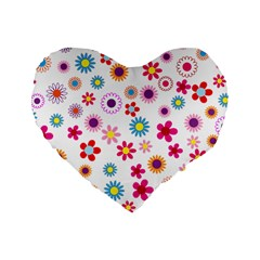 Floral Flowers Background Pattern Standard 16  Premium Flano Heart Shape Cushions