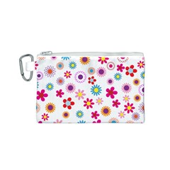 Floral Flowers Background Pattern Canvas Cosmetic Bag (S)