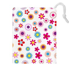 Floral Flowers Background Pattern Drawstring Pouches (xxl)