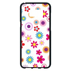 Floral Flowers Background Pattern Samsung Galaxy S8 Plus Black Seamless Case