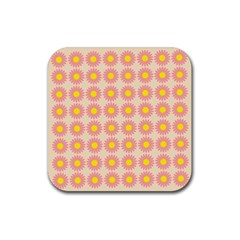 Pattern Flower Background Wallpaper Rubber Coaster (square)