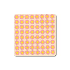 Pattern Flower Background Wallpaper Square Magnet