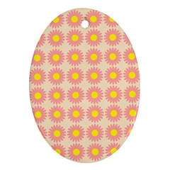 Pattern Flower Background Wallpaper Oval Ornament (two Sides)