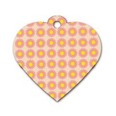 Pattern Flower Background Wallpaper Dog Tag Heart (two Sides)