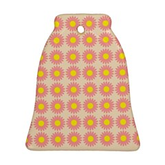 Pattern Flower Background Wallpaper Bell Ornament (two Sides)