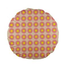 Pattern Flower Background Wallpaper Standard 15  Premium Flano Round Cushions