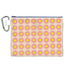 Pattern Flower Background Wallpaper Canvas Cosmetic Bag (xl)