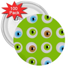 Eyes Background Structure Endless 3  Buttons (100 Pack)