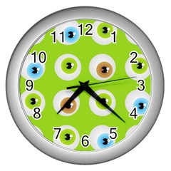 Eyes Background Structure Endless Wall Clocks (silver)