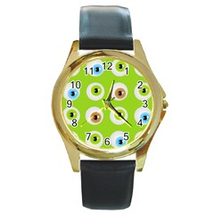 Eyes Background Structure Endless Round Gold Metal Watch