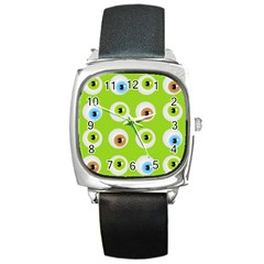Eyes Background Structure Endless Square Metal Watch