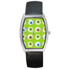 Eyes Background Structure Endless Barrel Style Metal Watch