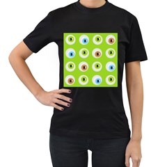 Eyes Background Structure Endless Women s T-Shirt (Black) (Two Sided)