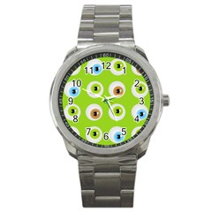 Eyes Background Structure Endless Sport Metal Watch