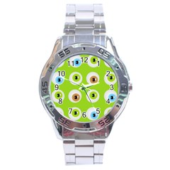 Eyes Background Structure Endless Stainless Steel Analogue Watch