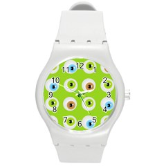 Eyes Background Structure Endless Round Plastic Sport Watch (M)