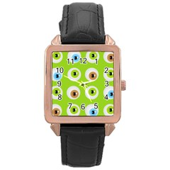 Eyes Background Structure Endless Rose Gold Leather Watch