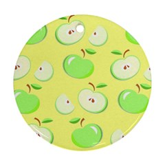 Apples Apple Pattern Vector Green Ornament (round)