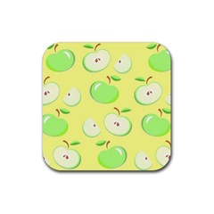 Apples Apple Pattern Vector Green Rubber Square Coaster (4 Pack)