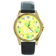 Apples Apple Pattern Vector Green Round Gold Metal Watch