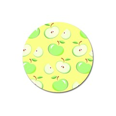 Apples Apple Pattern Vector Green Magnet 3  (round)