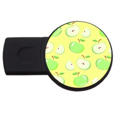 Apples Apple Pattern Vector Green USB Flash Drive Round (1 GB)