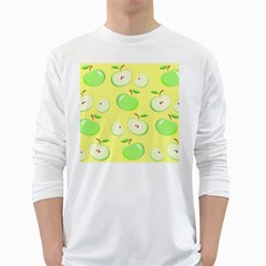Apples Apple Pattern Vector Green White Long Sleeve T Shirts