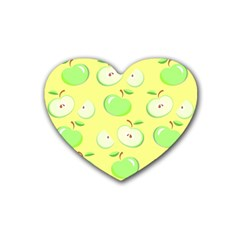 Apples Apple Pattern Vector Green Heart Coaster (4 pack)