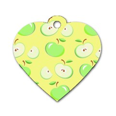Apples Apple Pattern Vector Green Dog Tag Heart (two Sides)