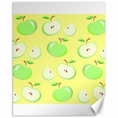 Apples Apple Pattern Vector Green Canvas 11  X 14