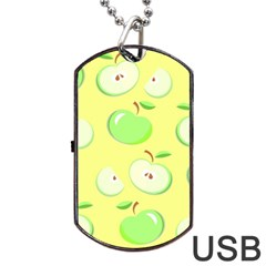Apples Apple Pattern Vector Green Dog Tag Usb Flash (two Sides)