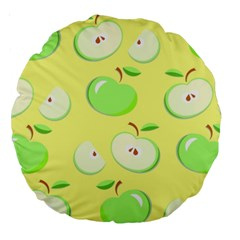 Apples Apple Pattern Vector Green Large 18  Premium Round Cushions