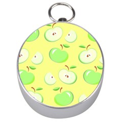 Apples Apple Pattern Vector Green Silver Compasses