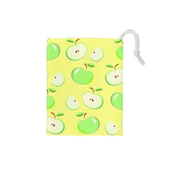 Apples Apple Pattern Vector Green Drawstring Pouches (Small)