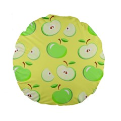 Apples Apple Pattern Vector Green Standard 15  Premium Flano Round Cushions