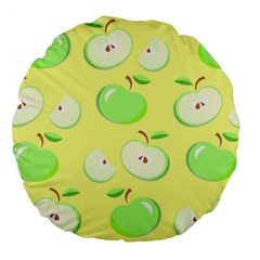 Apples Apple Pattern Vector Green Large 18  Premium Flano Round Cushions