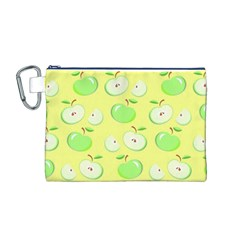 Apples Apple Pattern Vector Green Canvas Cosmetic Bag (M)
